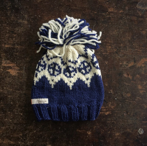 Hand Knitted Palle Wool/Alpaca Hat - Blue - 0-5y