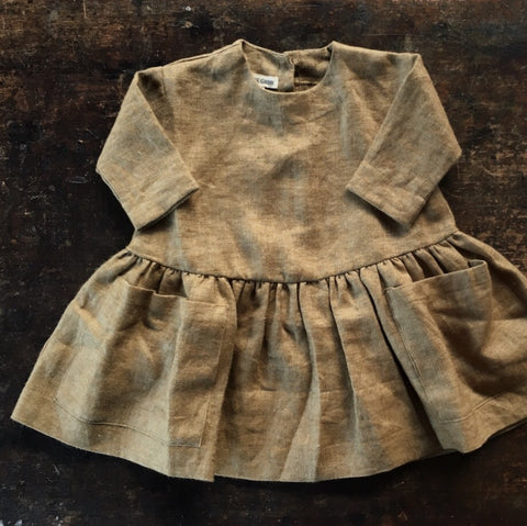 Brushed Linen Dress Long Sleeves - Brown Moss - 6m-12y