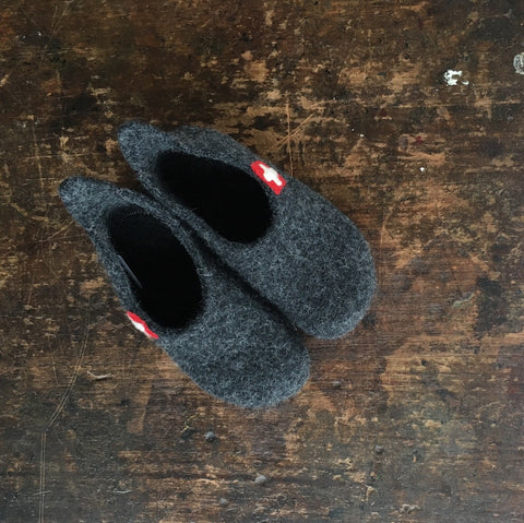 Wool Slipper Shoe - Anthracite - Size 24-35 (UK 7-2.5)