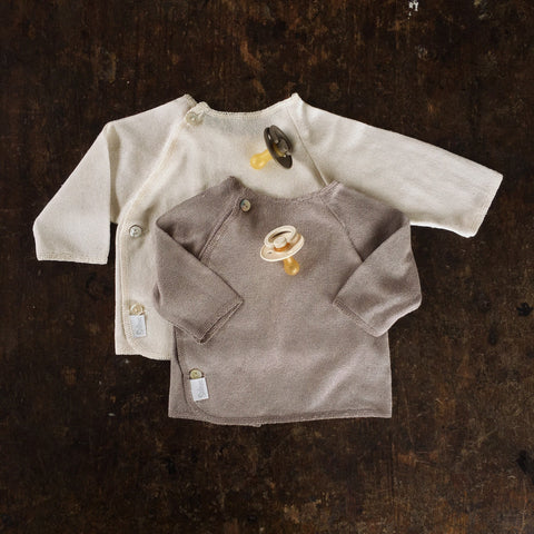 Bourette Silk Fine Knit Top With Side Close Cardigan - Cocoa - 0m-2y