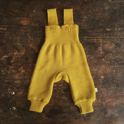 Exclusive Organic Merino Dungarees - Curry - 0-2y