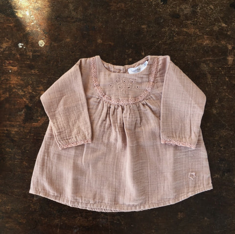 Cotton Lace Baby Dress - Pink - 3-24m