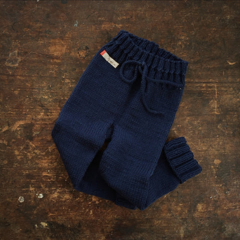 Hand-Knit 100% Wool Kids Pants - Navy - 2-5y