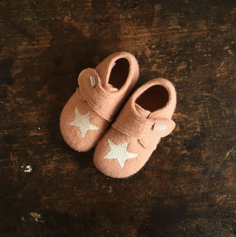 Velcro Wool Slipper Star Shoe - Rose Cloud - 21-30 (UK 4.5-11.5)
