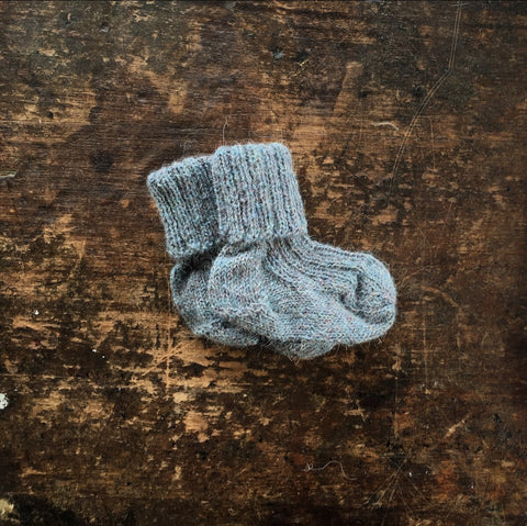 Hand-knitted Alpaca Socks - Jeans Blue - 9-12m