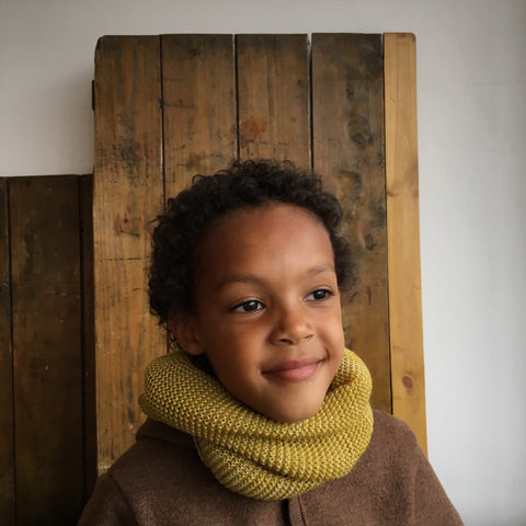 Kids Organic Merino Melange Loop Scarf - Rose, Curry & Anthracite