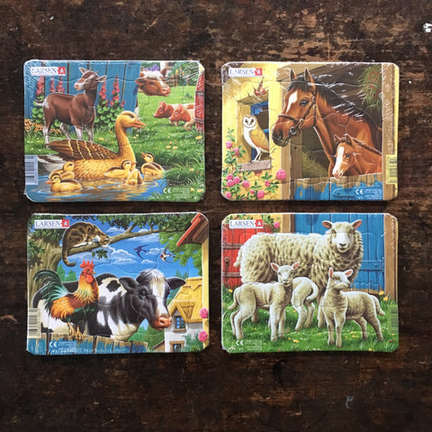 Mini Cardboard Puzzle 7 pieces - Duck, Horse, Sheep or Cow