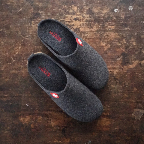 Adult Boiled Wool Swiss Cross Slippers - Anthracite - 37-44