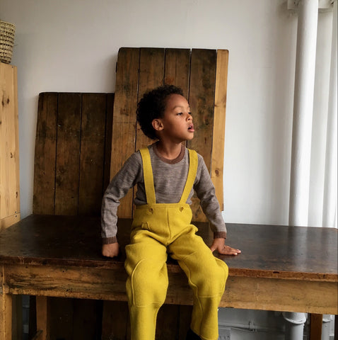 Organic Boiled Wool Dungarees - Curry - 6m-6y