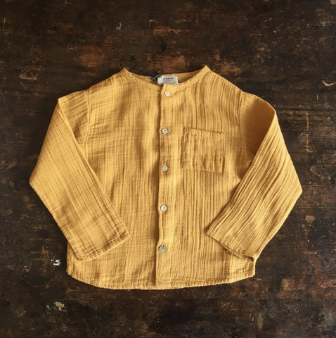 Cotton Mao Collar Shirt - Mustard - 18m-8y