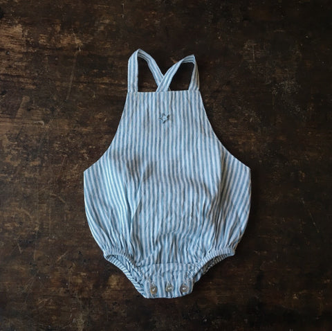 Linen/Cotton Stripped Baby Romper - Blue - 3-18m