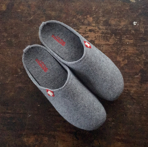Adult Boiled Wool Swiss Cross Slippers - Gray - 37-44