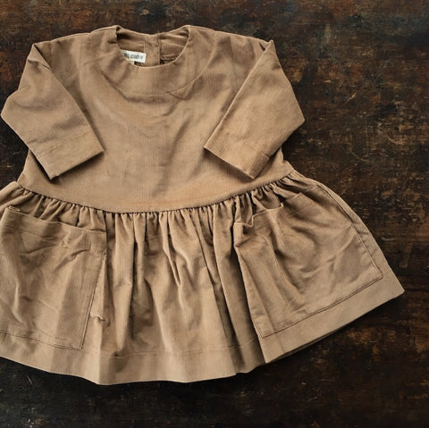 Cotton Corduroy Pocket Dress Long Sleeves - Toffee - 6m-12y