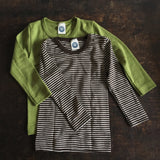 Organic Merino Wool & Silk Top Striped - Brown - 18m-8y