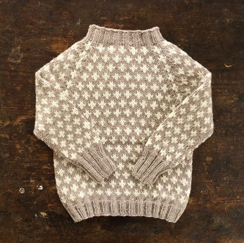 Hand-Knit Sweater Knud - Oatmeal - 3-10y