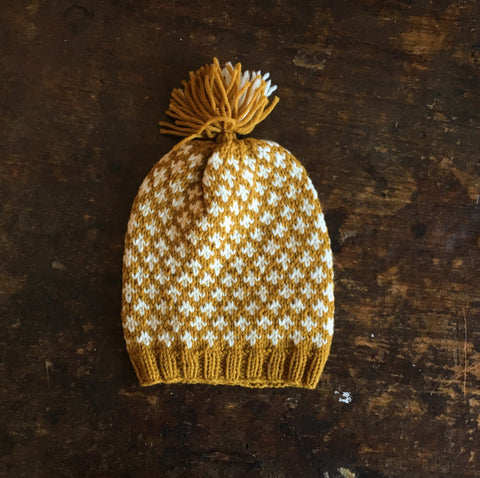 Hand knitted Knud wool hat -  Mustard/Natural -  0m-4y