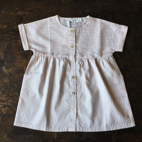 Linen/Cotton Stripped Dress - Dusty Pink - 2-8y