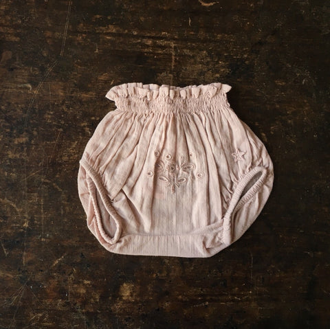 Cotton Embroidery Baby Bloomers - Pink - 3m-2y