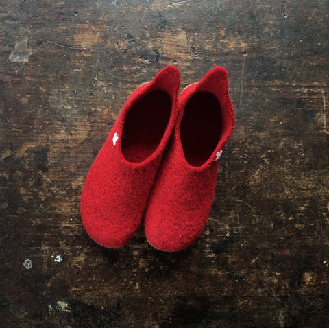 Adult Boiled Wool Slippers - Red - 37-41 (UK 4-7)