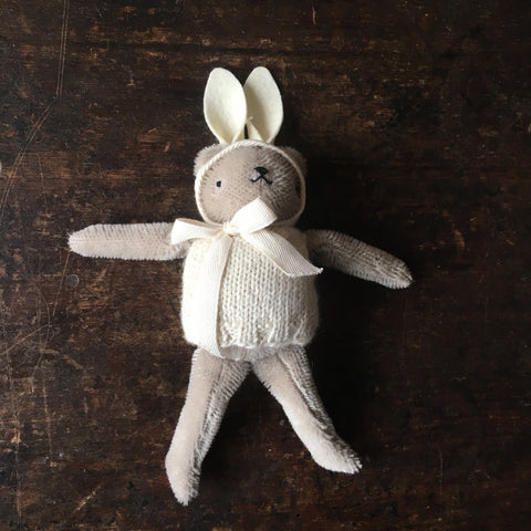 Mohair Floppy Bear in Knit and Rabbit Ears - Grey