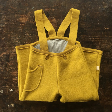Exclusive Organic Boiled Wool Pocket Dungarees - Curry