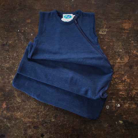 Virgin Wool/Silk Sleeveless Sleeping Bag - Marine - 0-3y