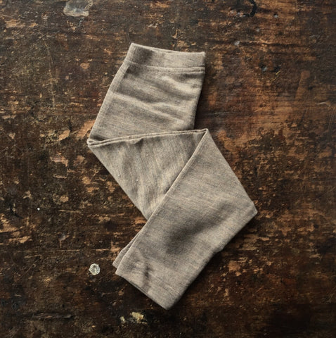 Organic Silk & Merino Wool Kids Leggings - Walnut 1y-12y