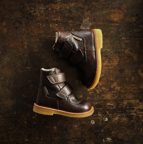 Wool Lined Waterproof Leather Boots - Dark Brown - 23-35
