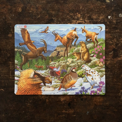 Thick Cardboard Puzzle 55 pieces - Wildlife of the Alps