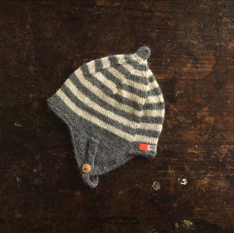 Hand Knitted Helmet Bonnet - Slate/Natural -  0m-2y