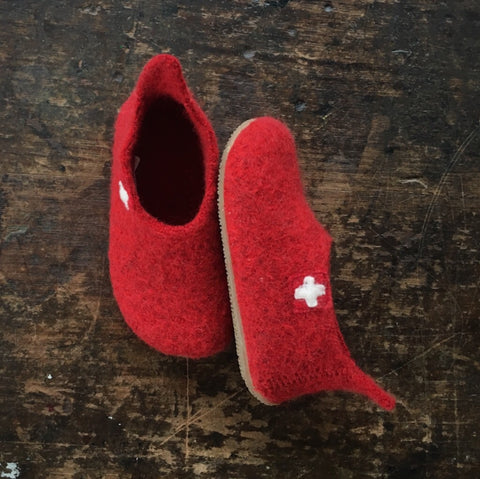 Wool Slipper Shoe - Red - Size 26-33 (UK 8.5-2.5)