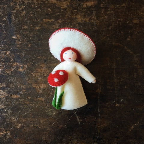 Handmade Small Wool Flower Fairy - Red Fungus