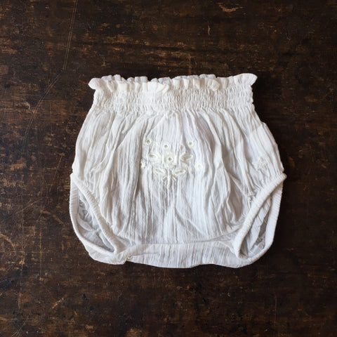 Cotton Embroidery Baby Bloomers - Ecru - 3m-2y