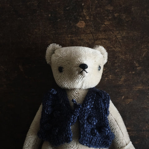 Mohair Classic Bear in MP Vest - Grey/Ink