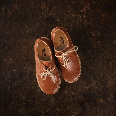 Lace-Up Kids Hole Pattern Shoes - Cognac - 28 (UK 10) - 32 (UK 13)