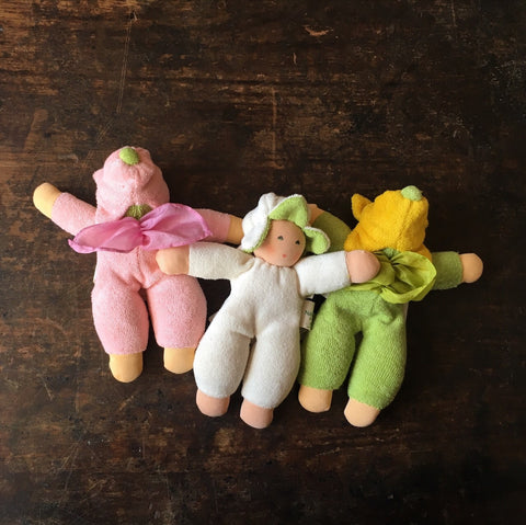 Organic Cotton/Wool Flower Fairy Children - Natural, Green & Rosa