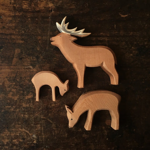 Handcrafted Small Eating Deer