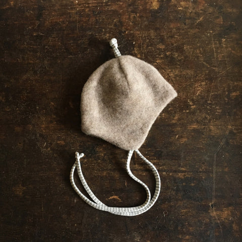 Merino Fleece Hat Cotton Lined - Sand - 0-24m