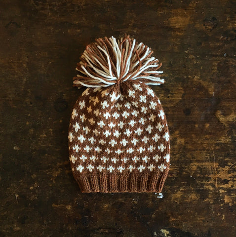 Hand knitted Knud wool hat -  Cinnamon/Natural -  0m-4y