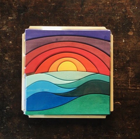 Handcrafted Sunset Landscape Puzzle