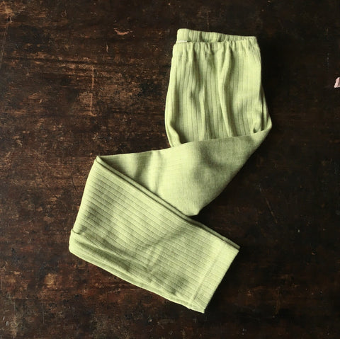 Organic Merino Wool, Cotton & Silk Pants - Green Melange - 18m-8y