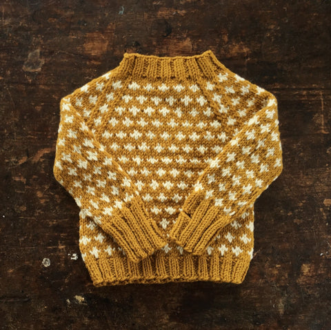 Hand-Knit Sweater Knud - Mustard - 1-10y