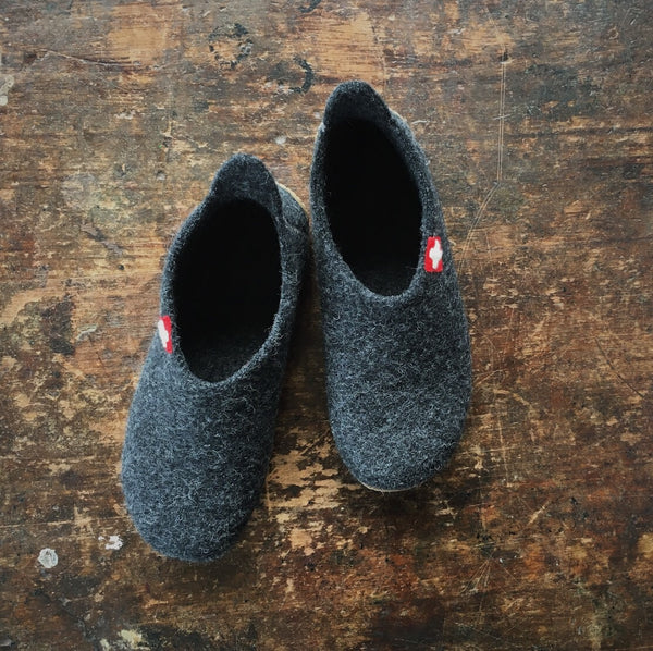 Adult Boiled Wool Slippers - Anthracite