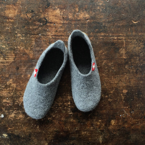 Adult Boiled Wool Slippers - Grey - 37-42 (UK 4-8)