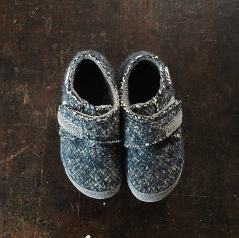 Wool Slipper Shoe - Denim Tweed - 29-30