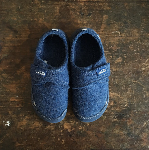 Velcro Wool Slipper Shoe - Denim Blue - Size 26-37 (UK8.5-4)