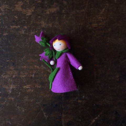 Handmade Small Wool Fairy With Flower - Bluebell