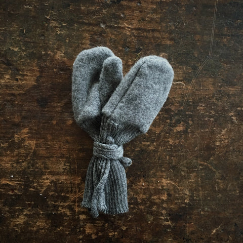 Organic Merino Fleece Gloves - Slate - 1-2y