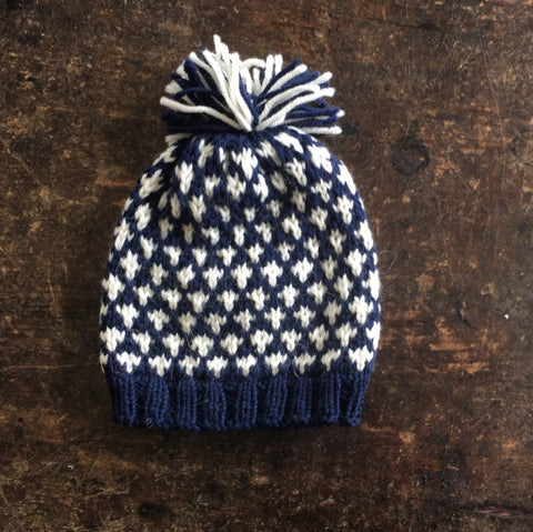 "Hand knitted ""Knud"" wool hat Navy/White 6m-5 y"