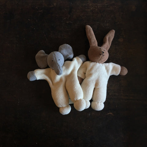 Organic Cotton/Wool Soft Elephant or Rabbit